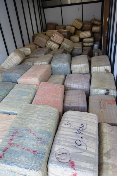 A trailer load of 50-pound bales of marijuana.