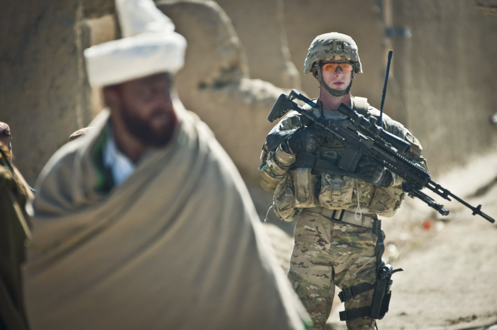 March 10, 2012. A U.S. Army PR photo shows 1st Platoon, Company A, 1st Battalion, 2nd Infantry Regiment, Task Force Black Hawk, conducting a foot patrol in Yayah Khel, where Bergdahl vanished from years earlier.