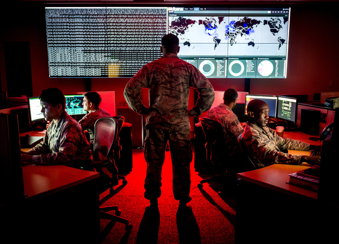 Cyber-warfare specialists serving with the 175th Cyberspace Operations Group of the Maryland Air National Guard engage in weekend training at Warfield Air National Guard Base, Middle River, Md., Jun. 3, 2017. (U.S. Air Force photo by J.M. Eddins Jr.