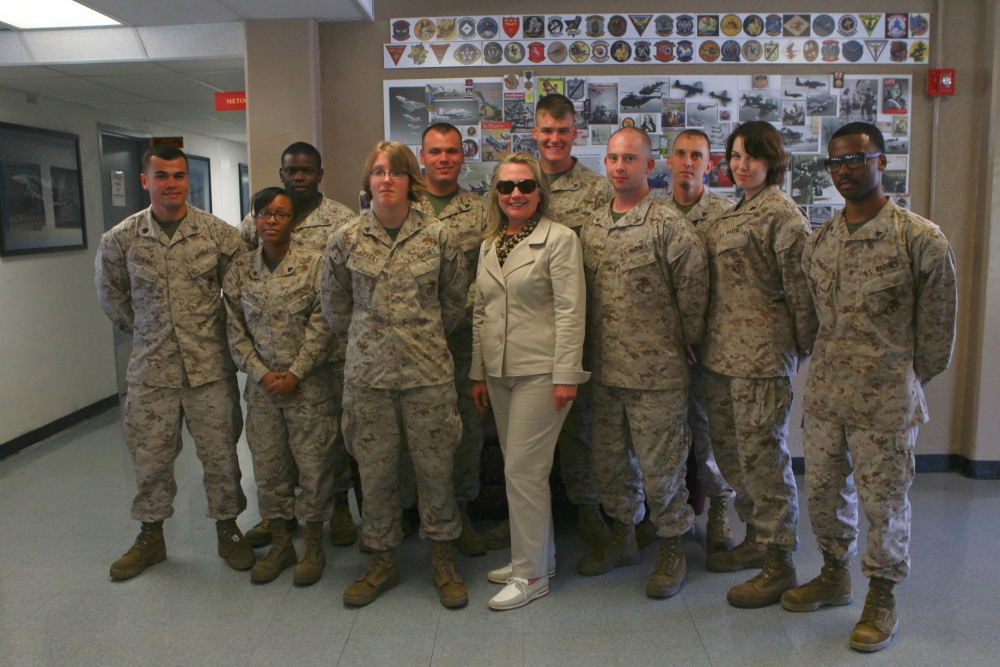 Secretary of State Mrs. Hillary R. Clinton poses for a group photo with U.S. Marines stationed on Marine Corps Air Station (MCAS) Miramar, Calif., Aug 30, 2012 Photo: Cpl. Jamean R. Berry